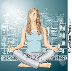 loto, vector, mujer que medita, postura
