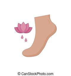 loto, vettore, disegno, piedi, fiore, isolato