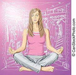 loto, vettore, donna meditando, atteggiarsi