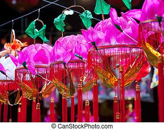 lotos, święto, latarnie, papier, wisząc