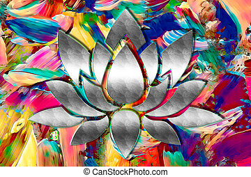 lotos - a lotus in bright colours on a colorful background