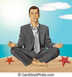 lotos, biznesmen, poza, medytacja, wektor