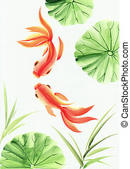 lotos, blätter, goldfische
