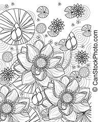 lotos, färbung, attraktive, seite