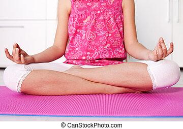 lotos, meditieren, -, junger, daheim, position, m�dchen