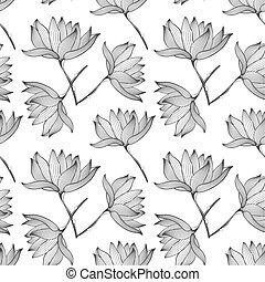 lotos, muster, blumen, seamless