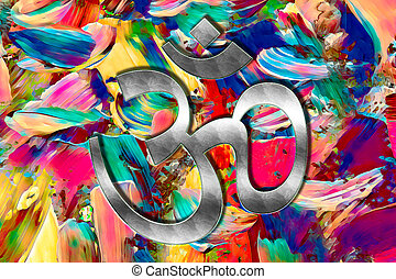 lotos - Om in bright colours on a colorful background