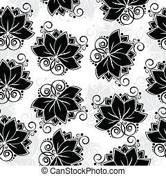 Lotos seamless background - Seamless black silhouette of ...
