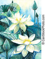 Lotos. - White lotus flower. Picture I have painted myself ...