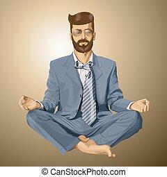 lotosowa poza, medytacja, wektor, hipster, biznesmen