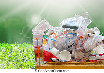 lots garbage on nature river sunshine background and copy space, garbage, dump, plastic waste, pile of garbage plastic waste bottle and bag foam tray many on bin yellow, plastic waste pollution