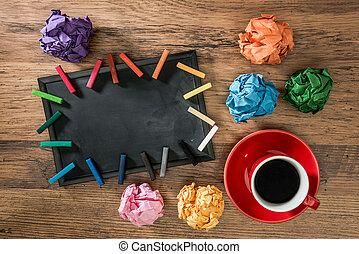 lots, i, avis bold, hos, multicolor, kridt