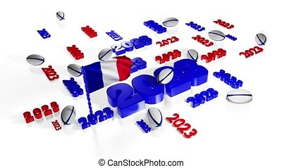 Lots of 2023 designs with French flag in the wind with some Rugby balls on a white background