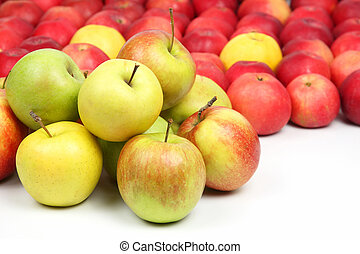 Lots of apples on white background