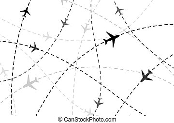 Lots of black planes on dashed traces on white background