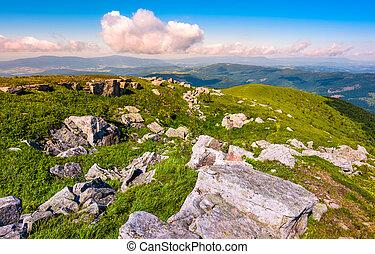 lots of boulders on an alpine meadow. beautiful summer...