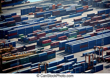 Lot's of cargo freight containers in Barcelona sea port.