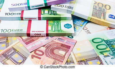 Lots of cash money.  Euros. euro money banknotes. Money Euro background