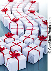 Lots of christmas presents - holidays concept
