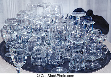 Lots of Clean empty wine glasses on table