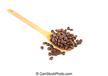 Lots of coffee beans on wooden spoon. White background. Isolated