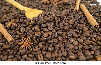Lots of coffee beans. Two anise stars, three sticks of cinnamon.