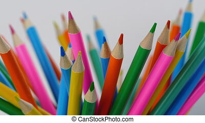 Lots Of Color Pencils Rotating
