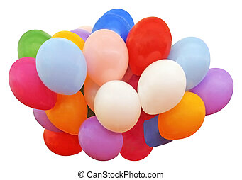 Lots of colorful balloons isolated on white background