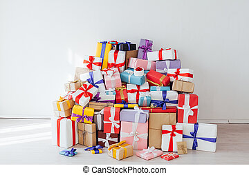 Lots of colorful gifts New Year Christmas birthday holiday