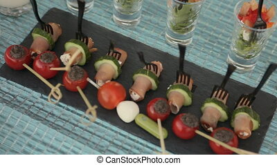 Lots of delicious appetizers and desserts on catering