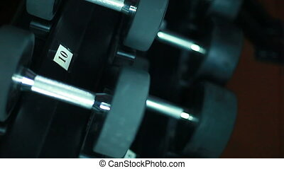 Lots of dumbbells in the gym.