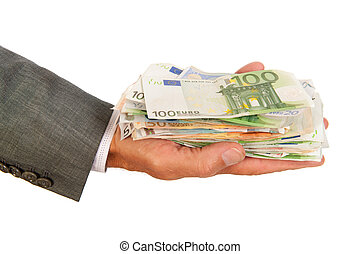Lots of euro money in hand - Arm and hand of business man...