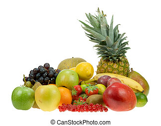 lots of fresh fruit isolated on a white background