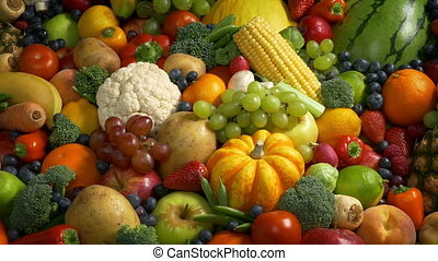 Lots Of Fruits And Vegetables - Big pile of mixed fruit and...