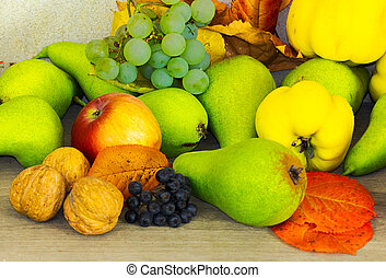 lots of fruits on the wooden desk - autumn fruit composition...