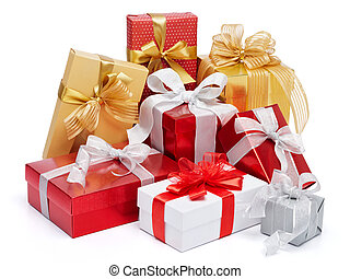 stack of presents isolated on white background