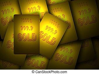 Lots of gold bullion - Illustration of a bundle of gold...
