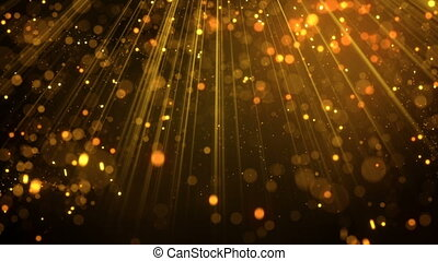 Lots of gold glitter particles falling in light rays loop