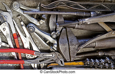 full frame mix of various hand tools
