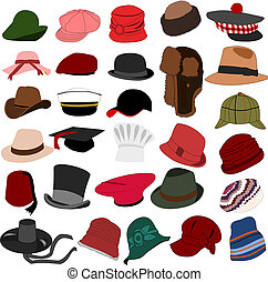 Set of illustration of lots of different hats