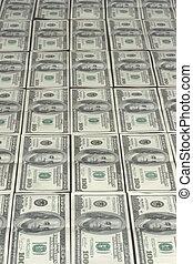 Lots of hundred dollar bank notes