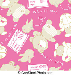 Lots of love bear and bird seamless pattern