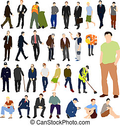 Lots of Men Set 01 - Set of illustrations of lots of men in...