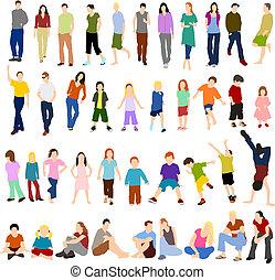 Lots of Men Women and Children - Set of illustrationsof lots...