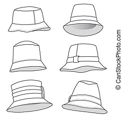 Lots of Mens and Womans Panams - Cap vector illustration...