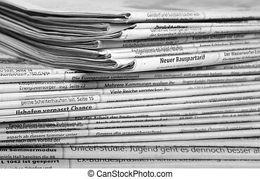 lots of newspapers - full frame background with lots of...