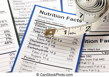 Lots of nutrition facts with tape measure