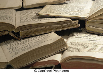 lots of old spiritual books - science background with lots...