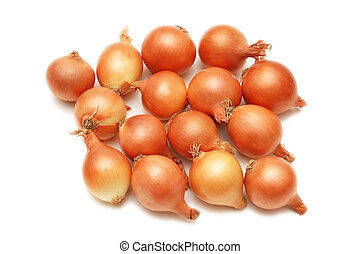 Lots of onions isolated on white background