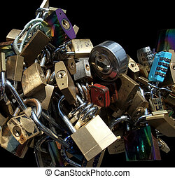 lots of padlocks - lots of various padlocks in black back
